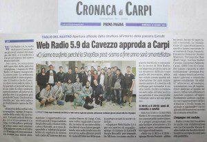 """""""Web Radio 5.9 da Cavezzo approda a Carpi"""" (Prima Pagina, 12 giugno 2016)"""