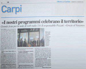 """""""I nostri programmi celebrano il territorio"""" (Il Resto del Carlino, 12 giugno 2016)"""
