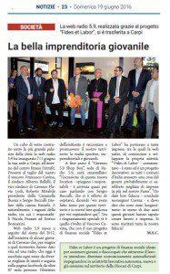 """""""La bella imprenditoria giovanile"""" (Settimanale Notizie Carpi, 19 giungo 2016)"""
