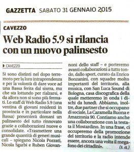"""WEB RADIO 5.9 Pubblicato da Nicola Pozzati """"Mi piace"""" aggiunto alla Pagina · 31 gennaio 2015 · Modificato  ·    Dalla Gazzetta di Modena di sabato 31 gennaio 2015"""