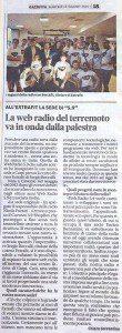 """""""La web radio del terremoto va in onda dalla palestra"""" di Chiara Sorrentino (Gazzetta di Modena, 14 giugno 2016)"""