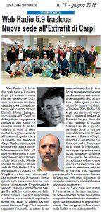 """""""Web Radio 5.9 trasloca. Nuova sede all'Extrafit di Carpi"""" (L'indicatore Mirandolese, 11 giugno 2016)"""