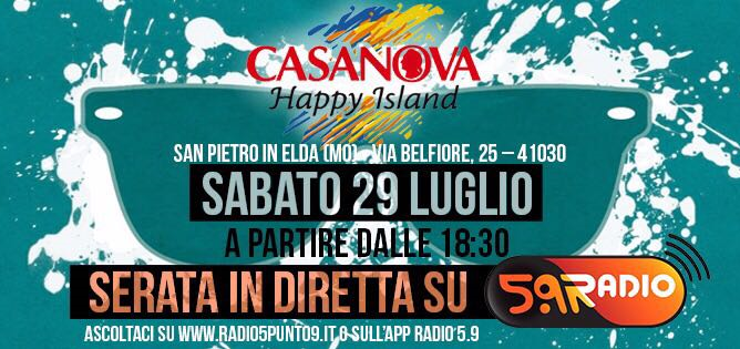 Casanova Happy Island e Web Radio 5.9 sito
