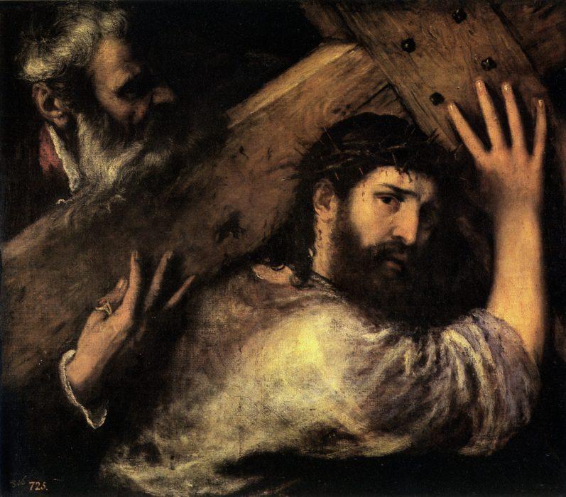 Dipinto Cristo Croce Tiziano